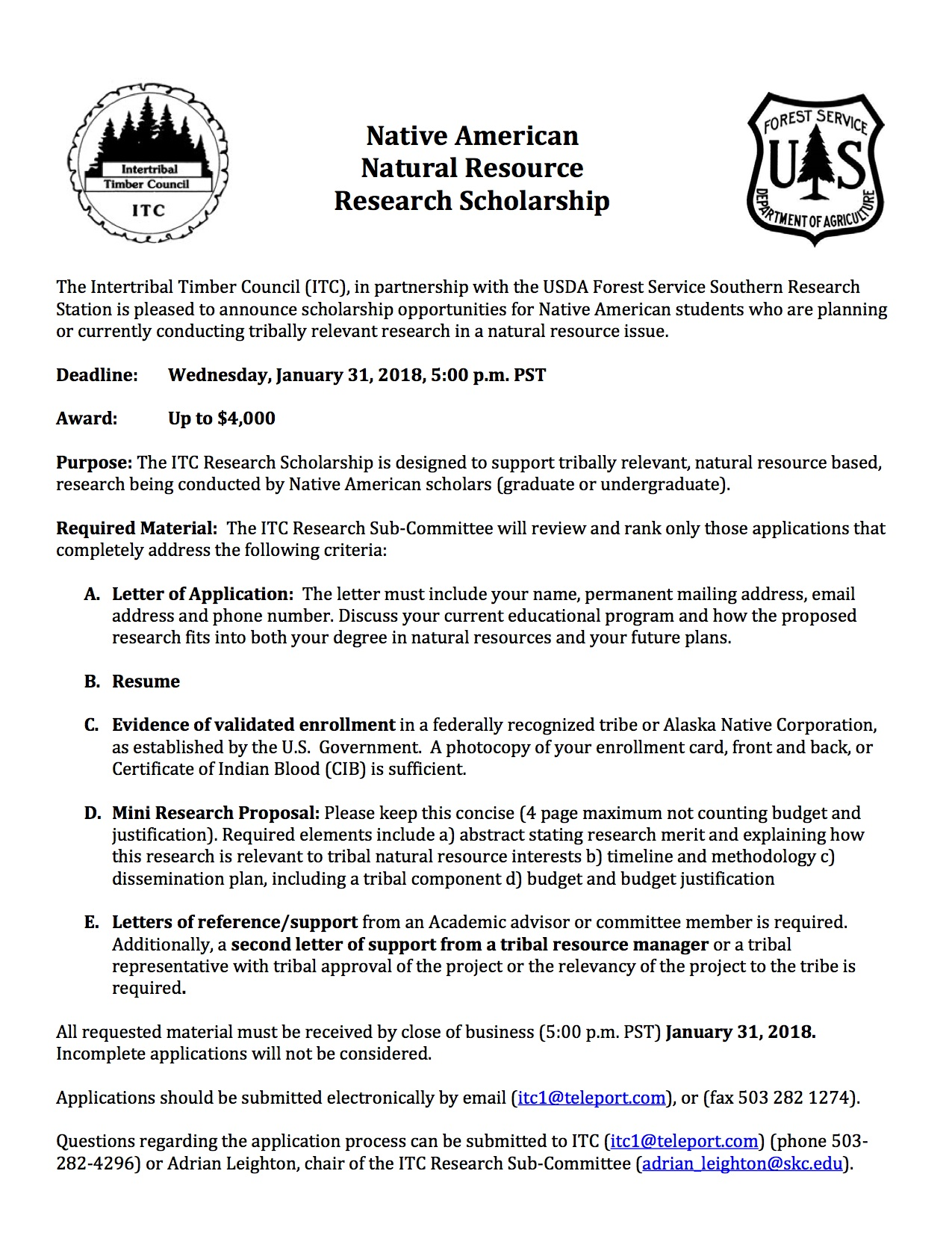 Itc Research Scholarship  Skc Trees